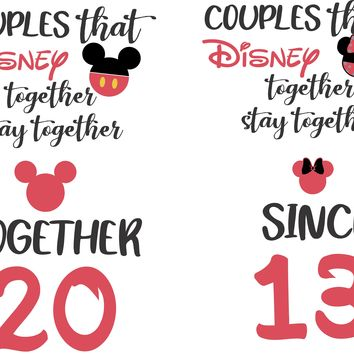 Disney Couples Baseball Tees- honeymoon shirts - wedding anniversary shirts - getting married shirts