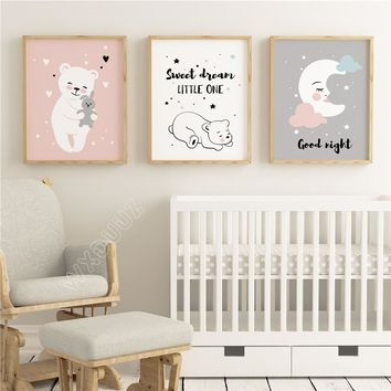 WXDUUZ Baby Moon Animal Nursery Posters and Prints Wall Art Canvas Painting Decorative Picture Nordic Style Kids Decoration A135