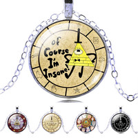 Silver Color Chain Steampunk Drama Gravity Falls Mysteries BILL CIPHER Picture Glass Cabochon Pendant Choker Necklace Jewelry