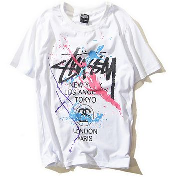 """Stussy""Lover Fashion Letter Pattern  Print Unisex Scoop Neck Short Sleeve blouse top"