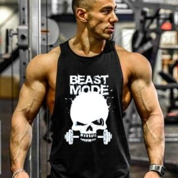 New Skull Beast Gyms Clothing Bodybuilding Tank Top Men Fitness Singlet Sleeveless Shirt Golds Cotton muscle Vest for man