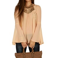 Sale-peach Boho Bell Top