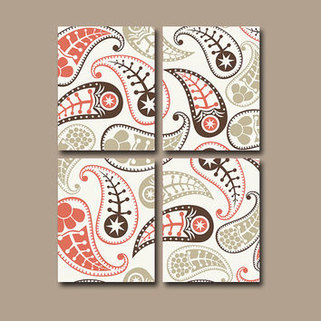 PAISLEY Wall Art Canvas Flower Bedroom Decor Flower Coral Biege Brown Tan  Bathroom Flourish Floral Set