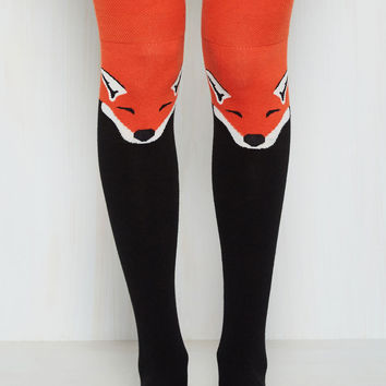 Fur the Win Thigh Highs in Black Fox | Mod Retro Vintage Socks | ModCloth.com