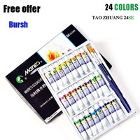 24 colors 5 ML Gouache paint sets For children drawing watercolor paint for fabric set Drawing Art supplies