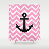 Pink Chevron Anchor Shower Curtain by RexLambo