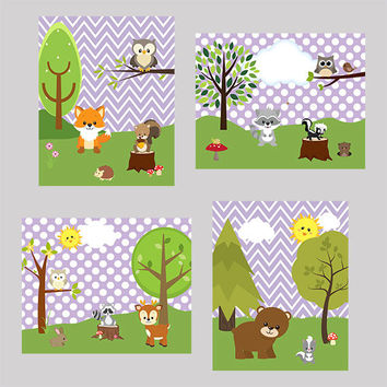 Nursery Art Prints Decor, Woodland Animals, Lavender Background, CUSTOMIZE YOUR COLORS, 8x10 Prints, set of 4, baby room kids room playroom