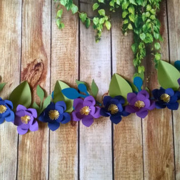 magnolia paper flower Garland any color 4 foot Wedding decor tea party decor bridal shower wall hanging banner chair swag window valance 3""