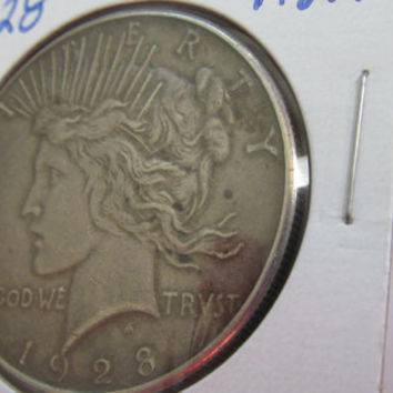 1928s Silver Peace Dollar 1928 Peace Dollar Silver One Dollar Coin USA Silver Coins Antique US Coin Silver US Currency Rare Coin Bird Coin