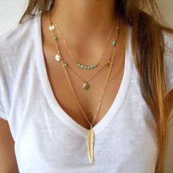 Women Fashion Chain Beads Leaf Layered Necklaces