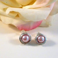 ADORABLE - Pink Pearl Stud Wrapped in Natural Silver Aluminum. A Natural for any outfit.