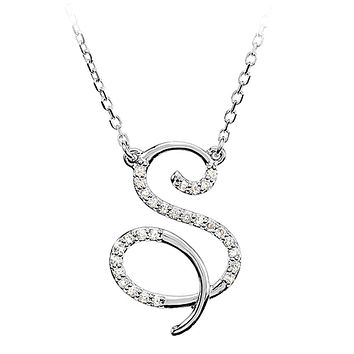 1/8 Ctw Diamond 14k White Gold Medium Script Initial S Necklace, 17in