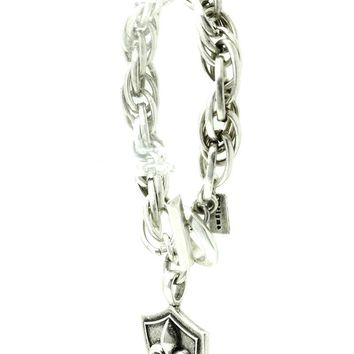 Chunky Chain Crown And Shield Charm Bracelet 1118