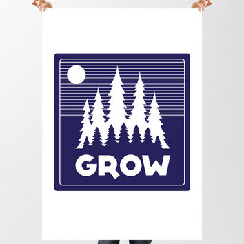 Grow Forest Print, Printable Text Graphic Poster, Instant Download, Nursery Decor, Childrens Wall Art, Wanderlust, Woodland Nursery, Trees