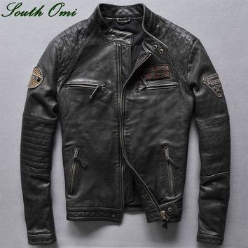 Fall/Winter 2016 Men's Retro Men's Motorcycle Leather Jacket Cowskin Stand-Collar Zipper Long Sleeve Leather Jacket Trench Coat