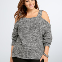 Marled Knit Cold Shoulder Sweater