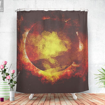The baby moon  - Shower curtain - Bathroom decor - Home decor - Bohemian - Colorful - Moon - Abstract - Original - Curtains - Unique.
