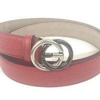 """Authentic Gucci ($390) GG Buckle Red Leather Belt 32""""-36"""" (90-36) #295704, NWT"""