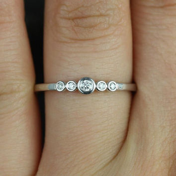 Bubbly 14kt White Gold Round Bezel Diamond Stack Band (Other Metals and Stone Options Available)