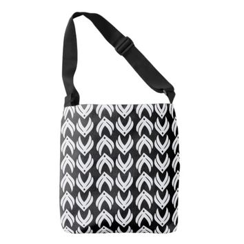Black and white tribal style pattern tote bag