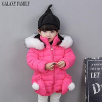 New Arrival 2017 baby girls winter coat + gloves warm thick toddler girl hooded winter jacket little kids down coat boutique