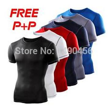 Men Compression Base Layers Under Tops fitness T Shirts Skins Gear Wear solid Thermal Tees High Flexibility