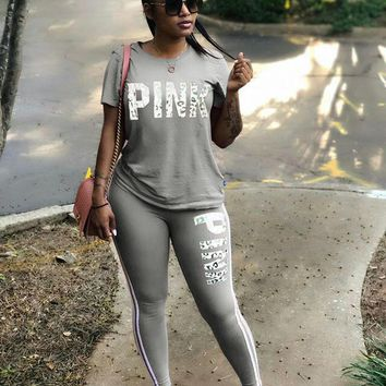 PINK Victoria's Secret Women Casual Fashion Shirt Top Tee Pants Trousers Set Two-Piece