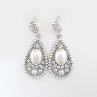 Brides Earrings, Drop Bridal Earrings, Pearl Drop Earrings, Bridal Jewellery, Wedding Jewelry Earrings