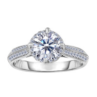 Sterling Silver With Rhodium Finish With Round Center And Pave' Set Side Cz Stones Engagement Style Ring