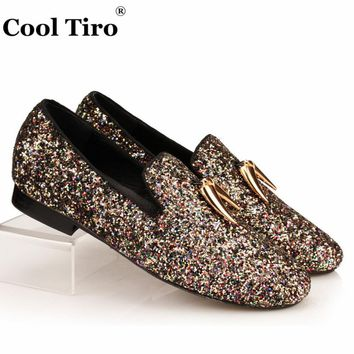 Multicolour Glistening Glitter Women's Loafers Flat Shark Tooth Tassel Slippers Sequins Female slip Girl Casual Shoes Leather