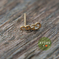 TRAGUS or CARTILAGE /Simple Swirl/ 24k Gold Plated/ Piercing/ Nose stud/ Cartilage Earrings/ Nose ring/ Hoop nose/ Helix Earrings