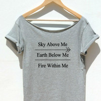 Sky Above Me Shirt Off the shoulder Womens top Printed gamer T shirt  XXS - XXL