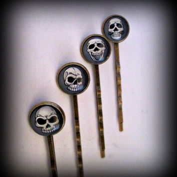 skull Bobby Pin-bronze Hair Pin -set of 4 bobby pins-gothic bobby pin-sugar skull bobby pin-punk bobby pin-skull cabochon bobby pin