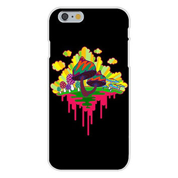 Apple iPhone 6 Custom Case White Plastic Snap On - 'Drippy Mushrooms' Funny Hippy Shroom Dripping Design Artwork
