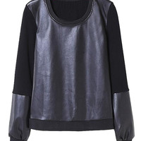 Fall Fashion Leather Sweatshirt