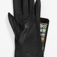 Women's Fownes Brothers 'Basic Tech' Cashmere Lined Leather Gloves (Nordstrom Exclusive)