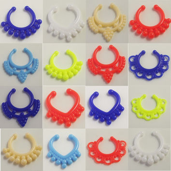 12pcs Mix Acylic Neon Candy Nose Ring Clip Nose Fake Piercing Ring Stud Punk Goth False Hoop Earrings Septum