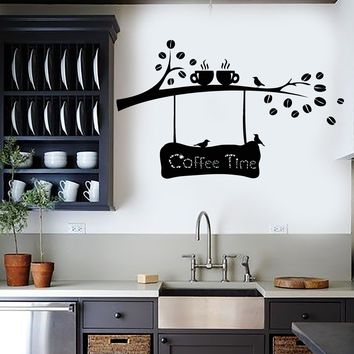 Vinyl Wall Decal Coffee Beans Branch Cup Birds Kitchen Decor Stickers Unique Gift (ig4158)