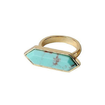 Blue Nile Turquoise & 18k Gold  Ring