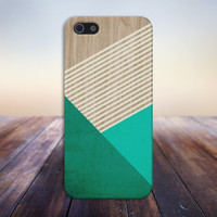Evergreen x Mint x Beige Striped Wood Design Case for iPhone 6 6+ iPhone 5 5s 5c iPhone 4 4s and Samsung Galaxy s5 s4 & s3