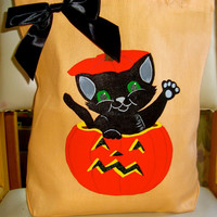 Orange Halloween Trick or Treat Bag With Black Cat