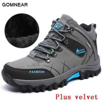 GOMNEAR HIgh Quality Warm Hiking shoes Men Outdoor Leisure Plus velvet Breathable hunting tourism trekking Big Size sport boots