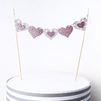 Gray and Pink Heart Banner Cake Topper - Pink Glitter Cake Topper - Valentine's Day Decor // Wedding Decorations // Bridal Shower Decor