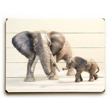 Elephants by Artist Debbra Obertanec Wood Sign
