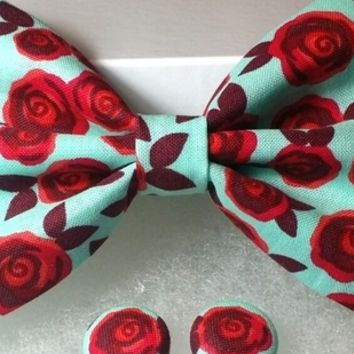 Turquoise Rose Hair Bow w/ Matching Earrings