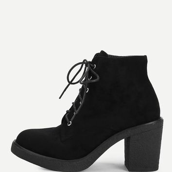 Lace-Up Block Heeled Ankle Boots