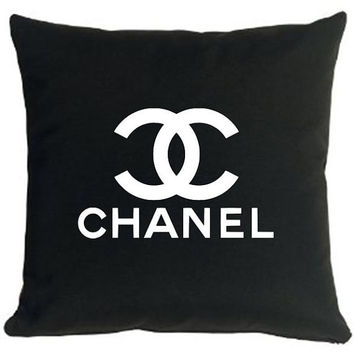 Black and White Chanel Ispired Pillow Logo by thevoguehouse