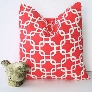 "CORAL chain link Pillow ONE 26"" Euro Sham Modern decorator pillow COVER 26 x 26 inches Salmon Pink Throw Pillow"