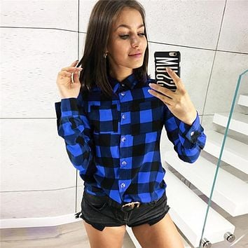 Shirts Women 2019 Classic Plaid Office Ladies Shirt Green Red Turn-down Collar Long Sleeve Blouses Plus Size Tops Clothing Woman