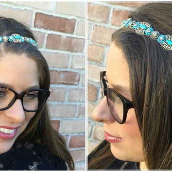 Turquoise Crystal | Beaded Headband